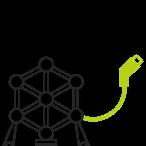 Atomium met e-kabel